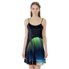 Planets In Space Stars Satin Night Slip