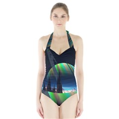 Planets In Space Stars Halter Swimsuit