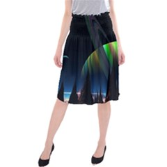 Planets In Space Stars Midi Beach Skirt