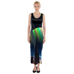 Planets In Space Stars Fitted Maxi Dress