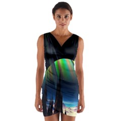 Planets In Space Stars Wrap Front Bodycon Dress