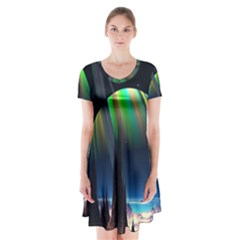 Planets In Space Stars Short Sleeve V Neck Flare Dress