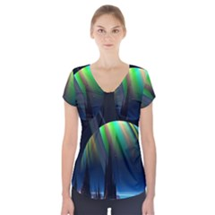 Planets In Space Stars Short Sleeve Front Detail Top