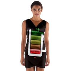 Black Energy Battery Life Wrap Front Bodycon Dress