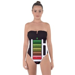 Black Energy Battery Life Tie Back One Piece Swimsuit