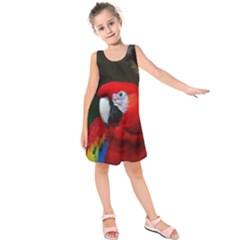 Scarlet Macaw Bird Kids  Sleeveless Dress