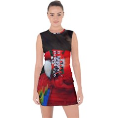 Scarlet Macaw Bird Lace Up Front Bodycon Dress