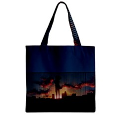 Art Sunset Anime Afternoon Zipper Grocery Tote Bag