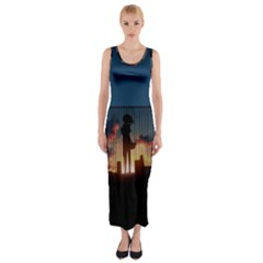 Art Sunset Anime Afternoon Fitted Maxi Dress