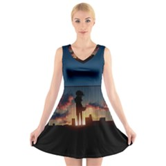Art Sunset Anime Afternoon V Neck Sleeveless Skater Dress