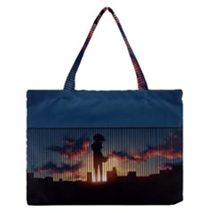 Art Sunset Anime Afternoon Medium Zipper Tote Bag