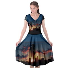 Art Sunset Anime Afternoon Cap Sleeve Wrap Front Dress