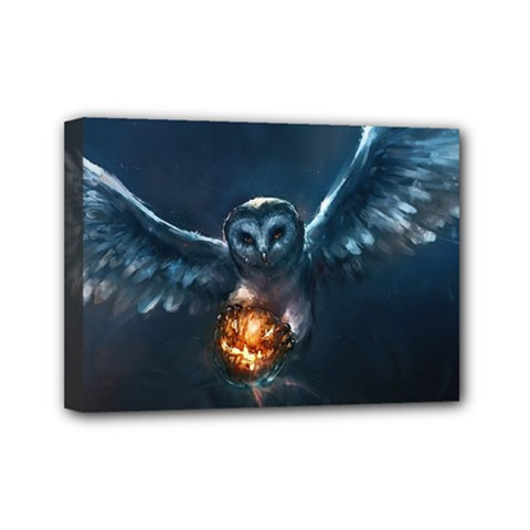 Owl And Fire Ball Mini Canvas 7  X 5
