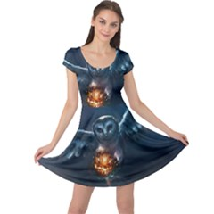 Owl And Fire Ball Cap Sleeve Dresses