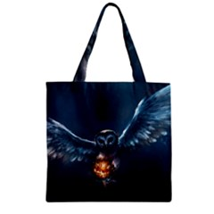 Owl And Fire Ball Zipper Grocery Tote Bag