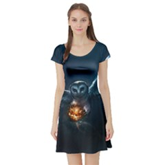 Owl And Fire Ball Short Sleeve Skater Dress