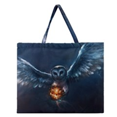 Owl And Fire Ball Zipper Large Tote Bag