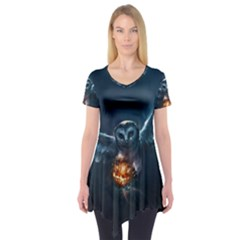 Owl And Fire Ball Short Sleeve Tunic