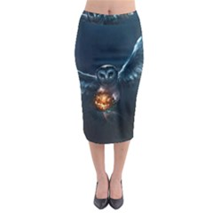 Owl And Fire Ball Midi Pencil Skirt