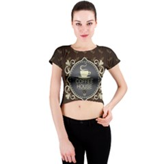 Coffee House Crew Neck Crop Top