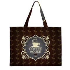 Coffee House Zipper Large Tote Bag
