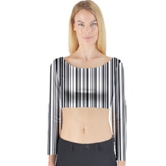 Barcode Pattern Long Sleeve Crop Top