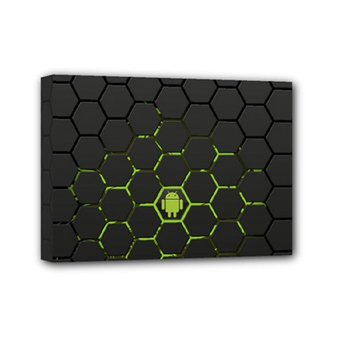 Green Android Honeycomb Gree Mini Canvas 7  X 5