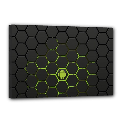 Green Android Honeycomb Gree Canvas 18  X 12