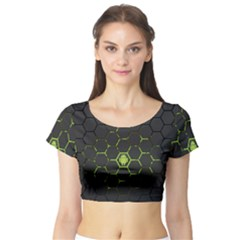 Green Android Honeycomb Gree Short Sleeve Crop Top (tight Fit)