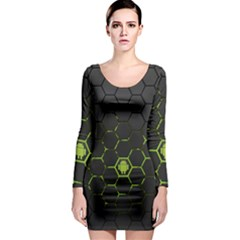 Green Android Honeycomb Gree Long Sleeve Bodycon Dress