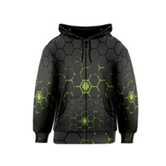 Green Android Honeycomb Gree Kids  Zipper Hoodie