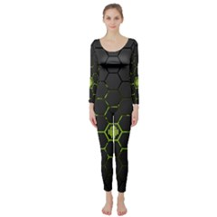 Green Android Honeycomb Gree Long Sleeve Catsuit