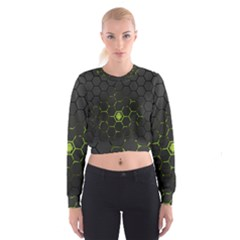 Green Android Honeycomb Gree Cropped Sweatshirt