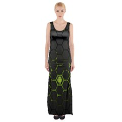 Green Android Honeycomb Gree Maxi Thigh Split Dress