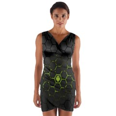 Green Android Honeycomb Gree Wrap Front Bodycon Dress