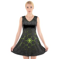 Green Android Honeycomb Gree V Neck Sleeveless Skater Dress