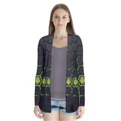 Green Android Honeycomb Gree Drape Collar Cardigan