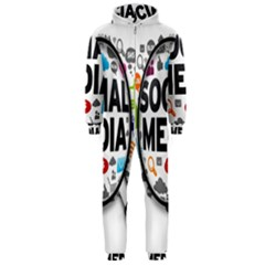 Social Media Computer Internet Typography Text Poster Hooded Jumpsuit (men)
