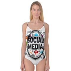 Social Media Computer Internet Typography Text Poster Camisole Leotard