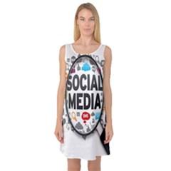 Social Media Computer Internet Typography Text Poster Sleeveless Satin Nightdress