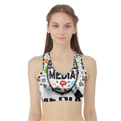 Social Media Computer Internet Typography Text Poster Sports Bra With Border