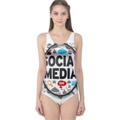 Social Media Computer Internet Typography Text Poster One Piece Swimsuit