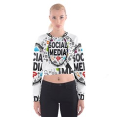 Social Media Computer Internet Typography Text Poster Cropped Sweatshirt