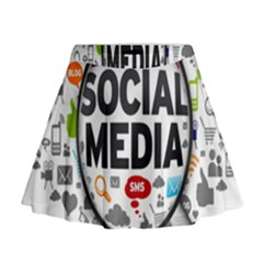 Social Media Computer Internet Typography Text Poster Mini Flare Skirt