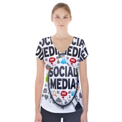 Social Media Computer Internet Typography Text Poster Short Sleeve Front Detail Top