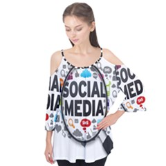 Social Media Computer Internet Typography Text Poster Flutter Tees
