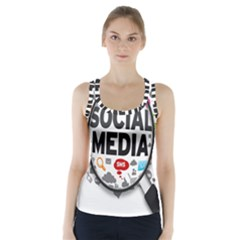 Social Media Computer Internet Typography Text Poster Racer Back Sports Top