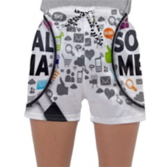 Social Media Computer Internet Typography Text Poster Sleepwear Shorts
