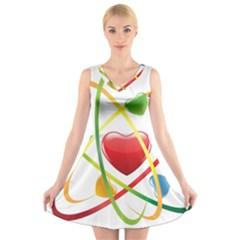 Love V Neck Sleeveless Skater Dress