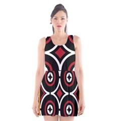 Toraja Pattern Ne limbongan Scoop Neck Skater Dress